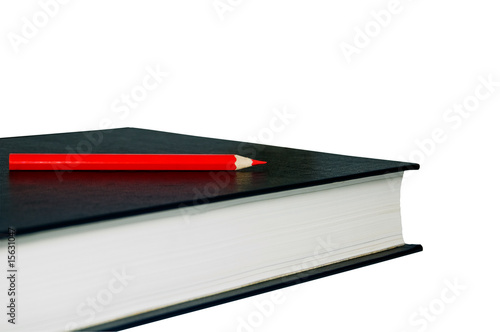 book and pencil isolated on white with clipping path