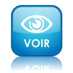 "Bouton carré ""VOIR"" avec reflet (bleu)"