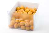 Apricots in a refrigerator box