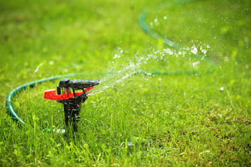 closeup of lawn sprinkler