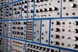 Leinwanddruck Bild - Vintage modular synthesizer - patch panel closeup