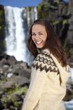 Beautiful Scandinavian Woman By A Waterfall poster