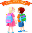 Girl and boy go to school