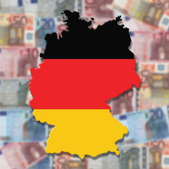 Germany Map flag on blurred euro