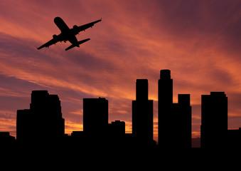 plane departing Los Angeles