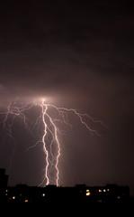 Lightning a thunderstorm, nightly cloudy sky,