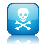Square button with Skull & Crossbones symbol (blue) poster