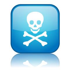 Square button with Skull & Crossbones symbol (blue)