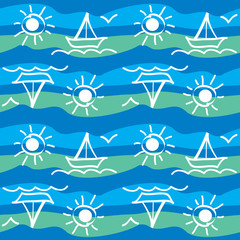 Sea seamless pattern with yachts