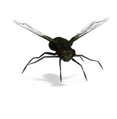 stereo rendering of a fly. use red-blue google for 3d-effect