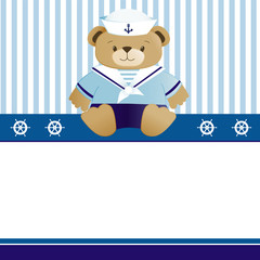 Sailor baby boy arrival announcement card