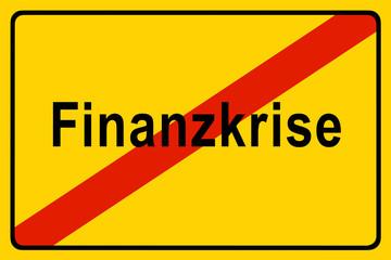 Symbolschild für die Finanzkrise