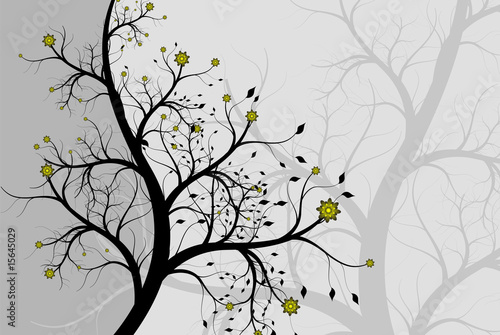 Abstract background a tree with colours (silver flowers) © Vman