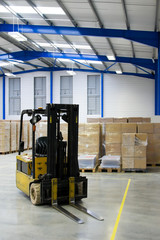 warehouse interior and forklift