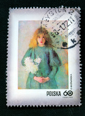 Painting on Polish vintage postmark