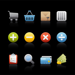 Icon Set in Black - Shopping