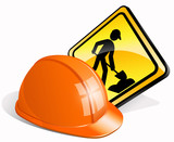 Construction helmet + man at work