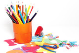 Stationery on a white background poster