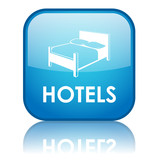 "Square ""HOTELS"" button with reflection (blue)"