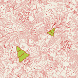 seamless christmas doodles poster