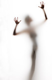 Fototapety abstract, elongated, semi-obscured figure with arms raised