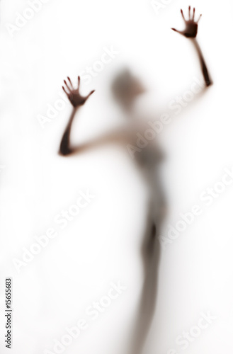 abstract, elongated, semi-obscured figure with arms raised Poster