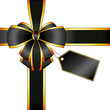 Emballage cadeau noeud noir et or