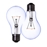 double blue lamp bulb on white