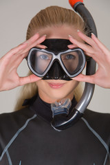 Closeup diver girl