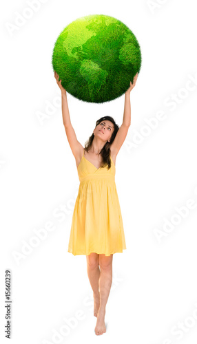 woman holding green planet