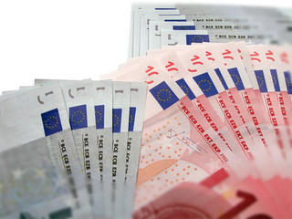 currency collage from money: ten and five euro banknotes
