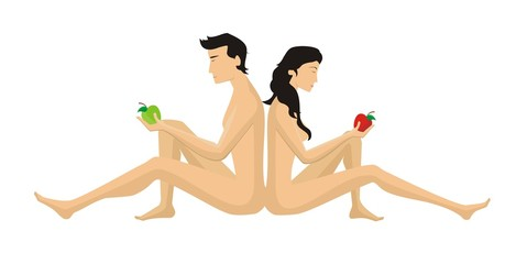 Eve and Adam to eat of the forbidden fruit on a white background