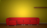 Red couch  in minimalist interior.. poster