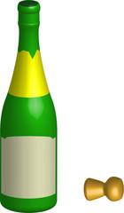 bouteille de champagne, vecteur