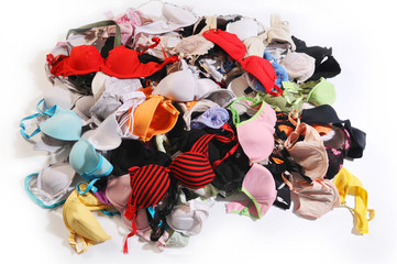 The pile of colourful bra