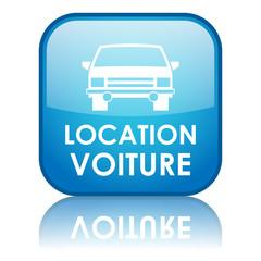 """Bouton carré """"LOCATION VOITURE"""" avec reflet (bleu)"""