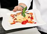 Chef demonstration preparing food poster