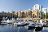 Marina and luxury flats, St Katharine Dock, London, England, UK