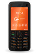 Black mobile phone with orange interface