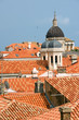 Church domes and red roofs of historic Dubrovnik, Croatia