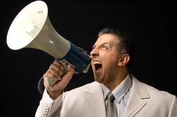 Ceo shouting through megaphone
