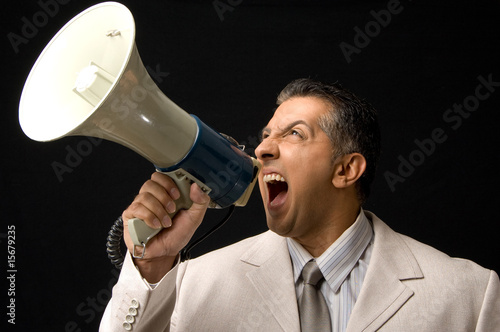 Ceo shouting through megaphone
