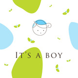 Baby boy arrival announcement card poster