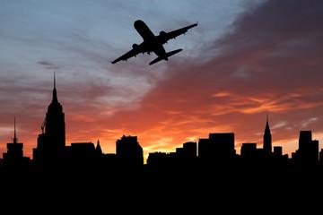 plane departing Manhattan