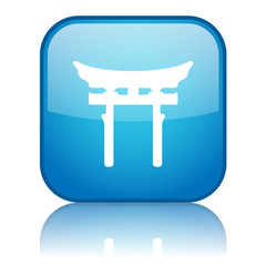 Square button with Shinto symbol (blue)