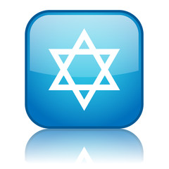 Square button with Judaism symbol (blue)