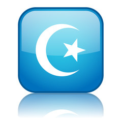 Square button with Islam symbol (blue)