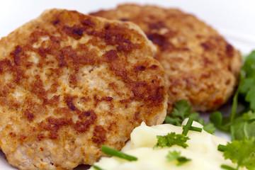 Frikadellen mit Püree,Rucola Salat