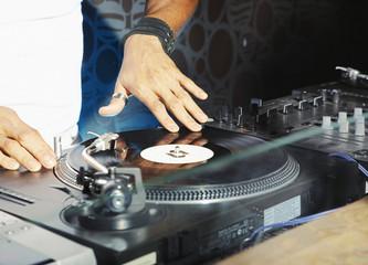 A DJ spinning records
