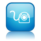 Square button with Webcam symbol (blue) poster